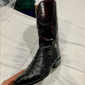 Lucchese ostrich boots blackcherry shaft